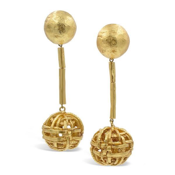 VINTAGE CHRISTIAN LACROIX GOLD TONE LONG BALL EARRINGS CIRCA 1980'S