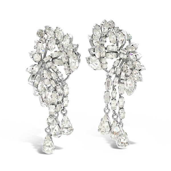 VINTAGE AUSTRIA DIAMANTE DROP EARRINGS CIRCA 1960'S