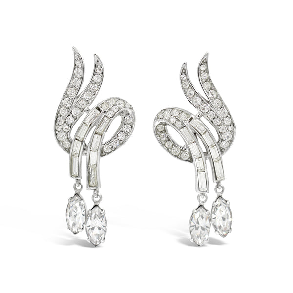 VINTAGE TRIFARI DIAMANTE EARRINGS CIRCA 1960'S