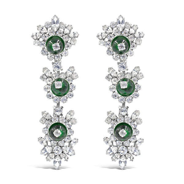 VINTAGE DIAMANTE AND EMERALD EARRINGS CIRCA 1960'S