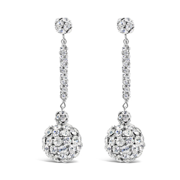 VINTAGE DIAMANTE RONDELLE DANGLE BALL EARRINGS CIRCA 1960'S