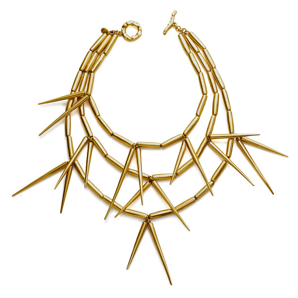 VINTAGE CHRISTIAN DIOR GOLD TONE SPIKE COUTURE NECKLACE CIRCA 1980'S