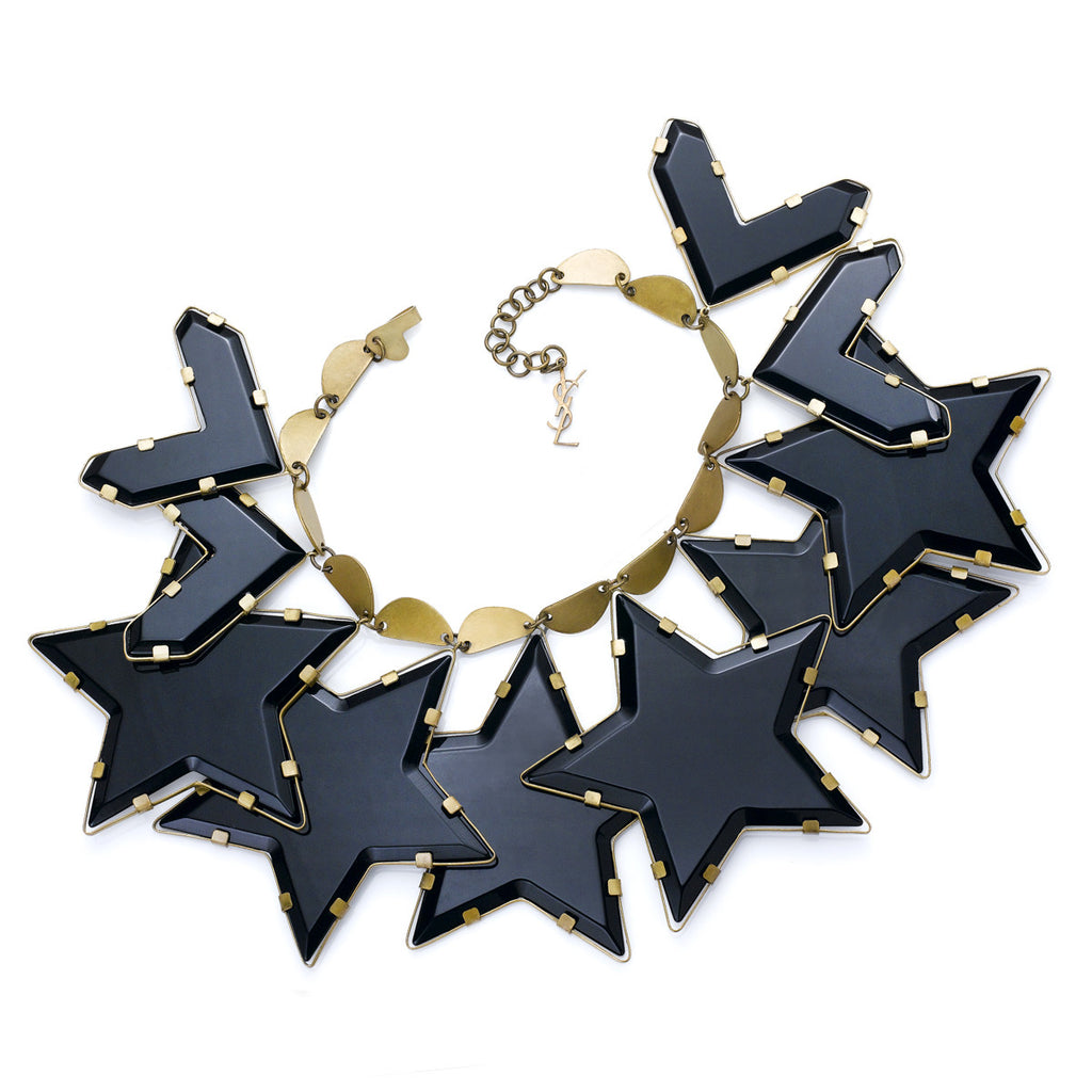 COLLECTIBLE  TOM FORD FOR YSL GOLD TONE WITH BLACK RESIN STARS NECKLACE CIRCA MID 1990'S