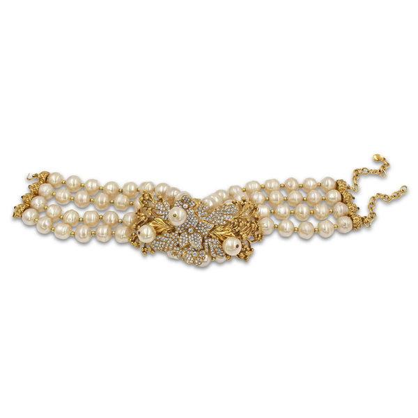 VINTAGE CHRISTIAN DIOR PEARL AND DIAMANTE COUTURE CHOKER, CIRCA 1980'S