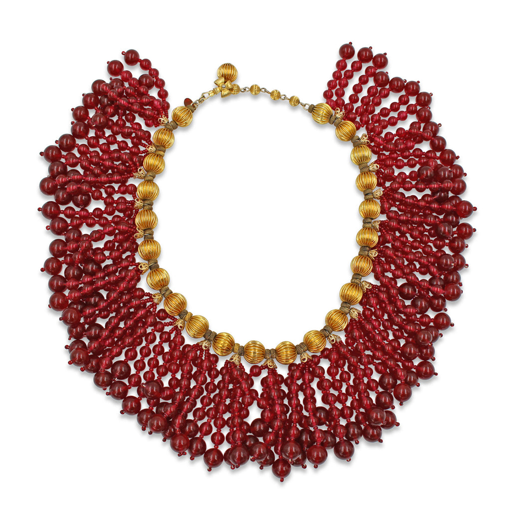 VINTAGE DELILLO RED BEADED AND GOLD TONE CHOKER CIRCA 1970'S