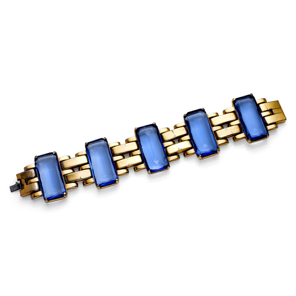 VINTAGE GOLD TONE AND BLUE BRACELET CIRCA 1940's