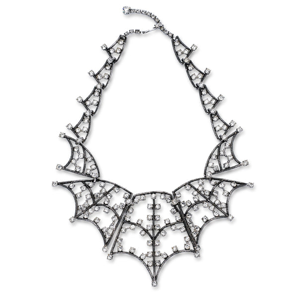 VINTAGE SCHIAPARELLI DIAMANTE SPIDER WEB NECKLACE CIRCA 1960'S