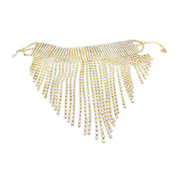 COLLECTIBLE DIAMANTE ON GOL TONE FRINGE CHOKER