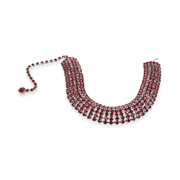 VINTAGE DIAMANTE RED CHOKER CIRCA 1980'S