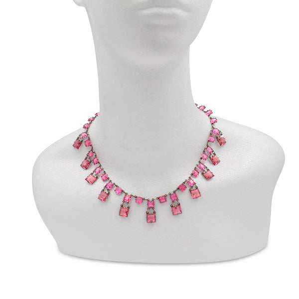 VINTAGE UNSIGNED OPEN BACK PINK CRYSTAL NECKLACE CIRCA 1920'S
