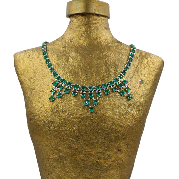 VINTAGE OPEN BACK GREEN CRYSTAL NECKLACE CIRCA 1920'S