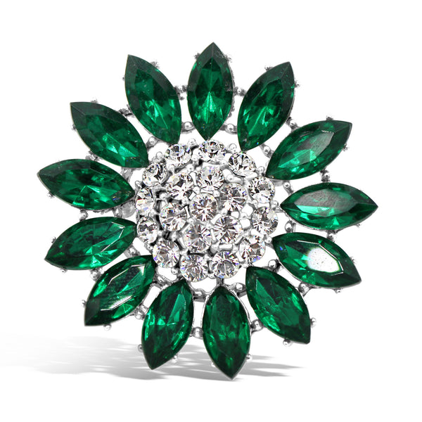 VINTAGE WEISS DIAMANTE GREEN BROOCH CIRCA 1960'S