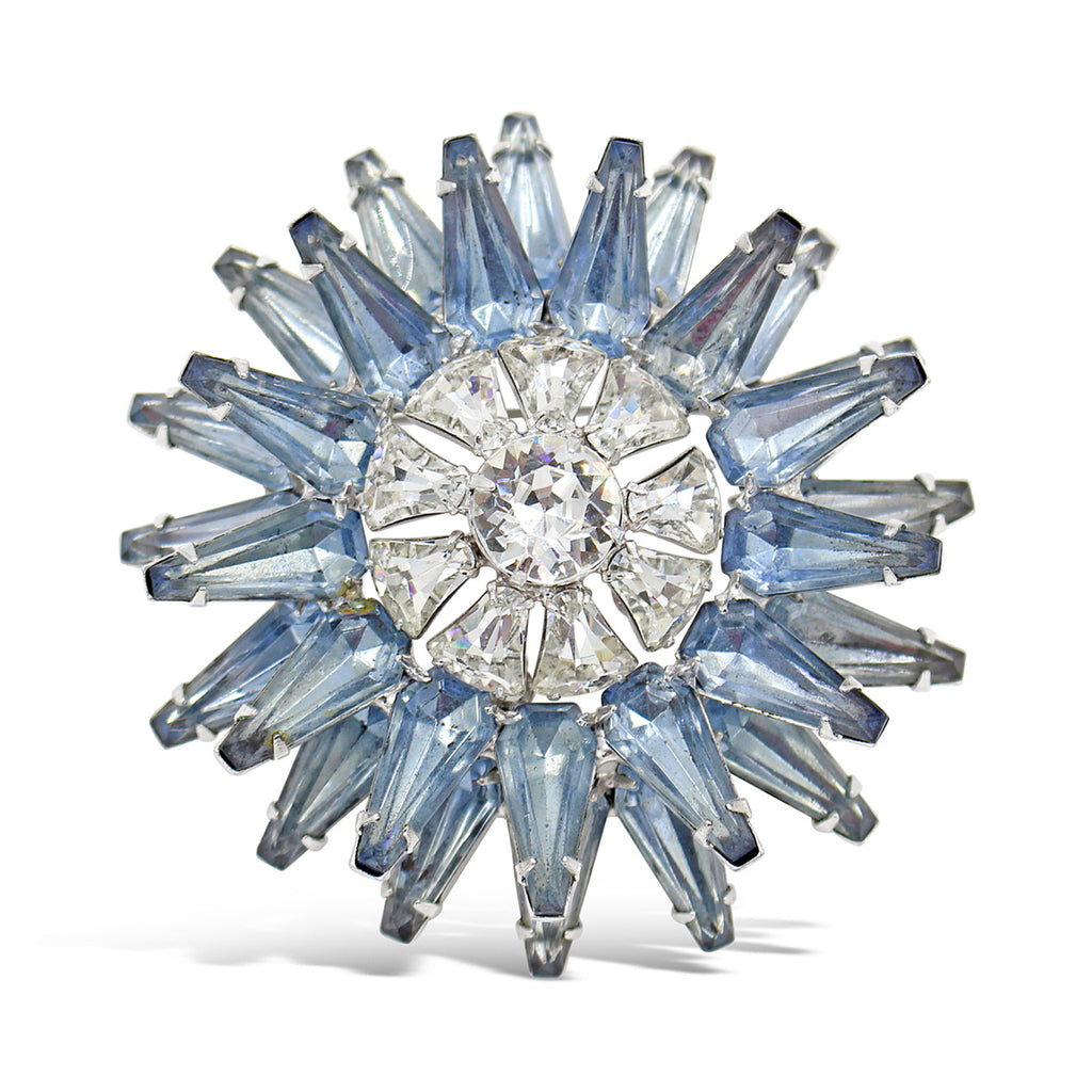 VINTAGE DIAMANTE AND BLUE TIERED BROOCH CIRCA 1960'S