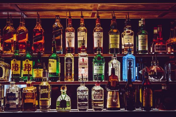 Fully stocked bar with alcohol.