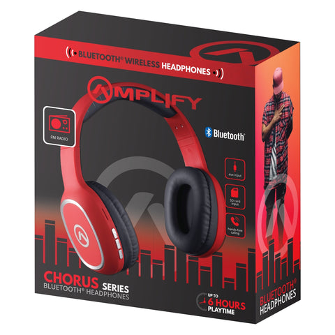 Amplify Chorus Series Bluetooth Headphones - Red - FYIonline