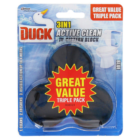Duck Active Clean In The Cistern Toilet Cleaner Triple Pack Blue 3x45g