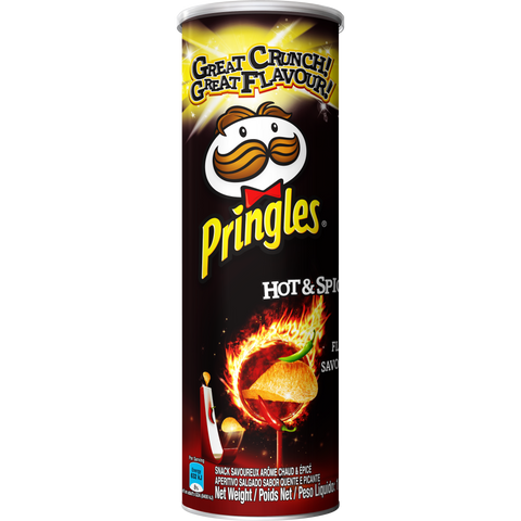 Pringles Hot and Spicy flavoured savoury snack 110g Pack of 12