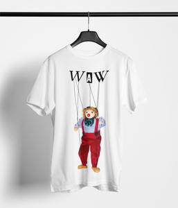 Men's Jules the Puppet T-Shirt on White: Men/Women/Kids/Baby Graphic Hoodies, Clothing, T-Shirts and Accessories from WAW Group - Weird and Wonderful Group, independent, boutique, fashion and design brand UK
