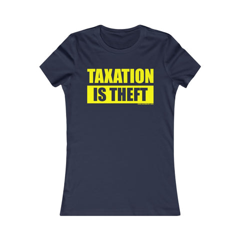 Official Taxation Is Theft Logo Shirt Navy Blue Curvy