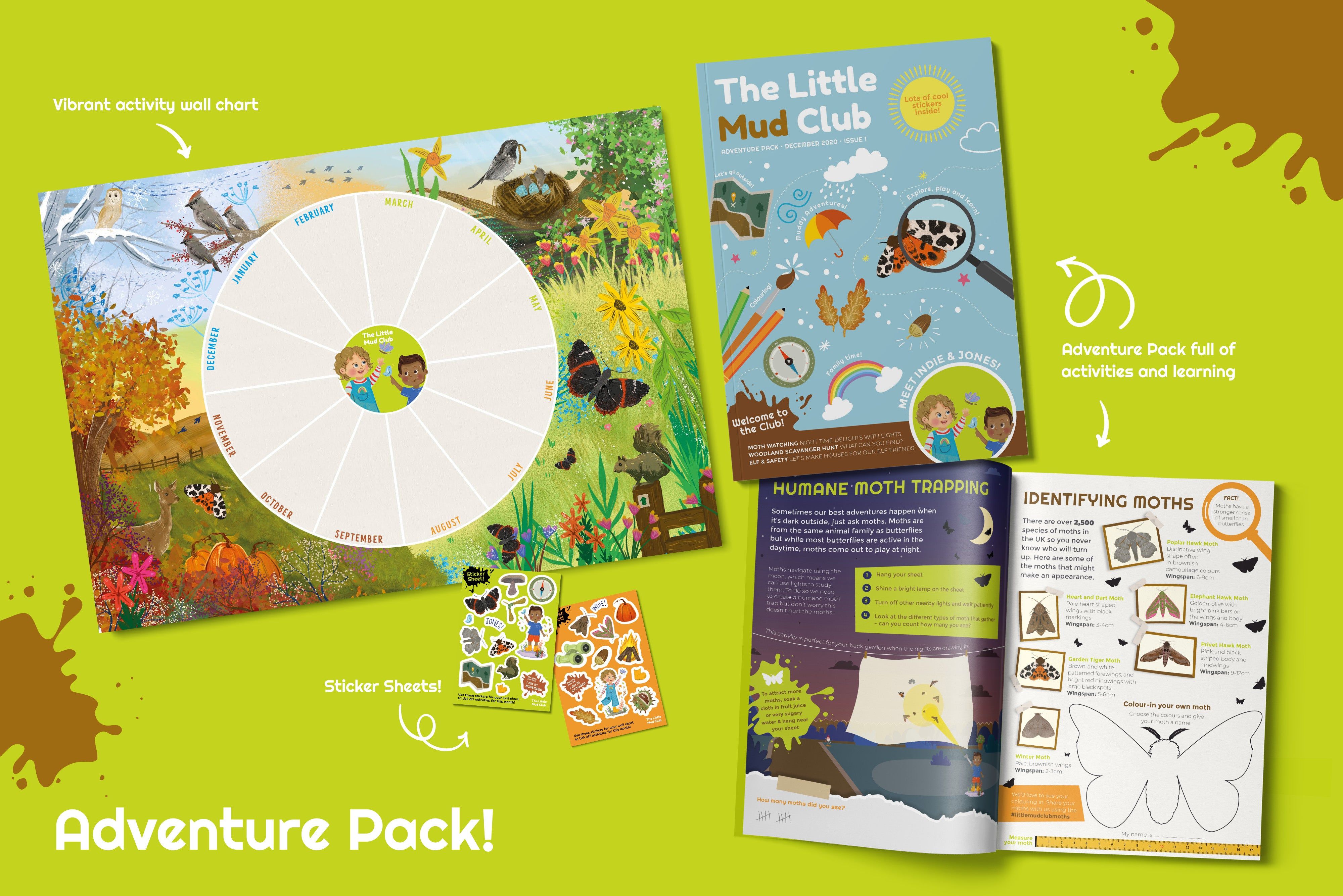 Little Mud Club Adventure Pack display. Featuring animal inspired wall chart; fun, exciting stickers, an example activity book with stylised cover to appeal to children and showing a double page spread of activities related to moths.