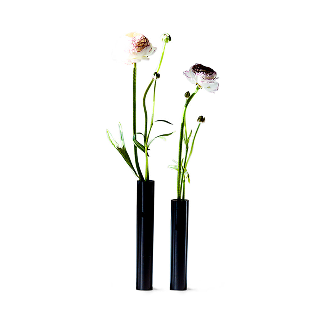 Slim Vase 14 cm - Black Powder Coated Steel