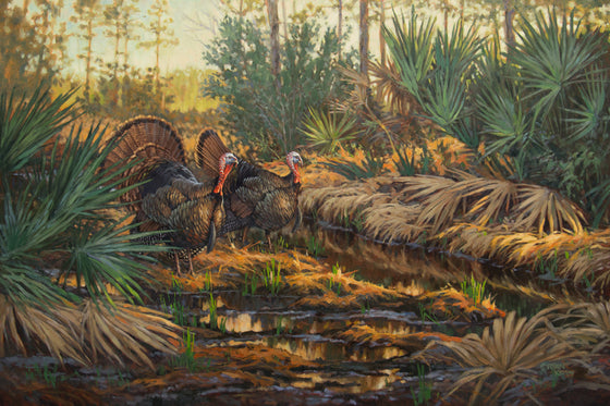 """Swamp Patrol"" Framed Original Wild Turkey Painting by Ryan Kirby"