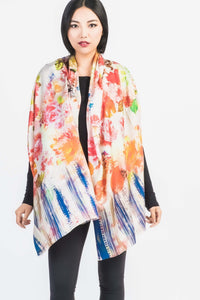 Floral and Graphic Printed Silk Scarf