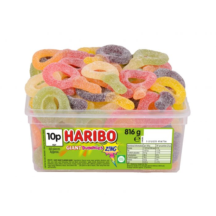 Haribo Giant Dummies Z!ng Tub 816g