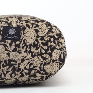Black Floral Oval Yoga Bolster - no piping