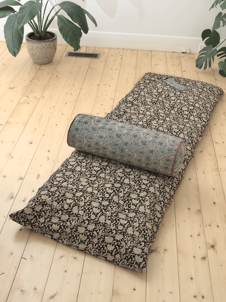 Black Floral Yoga Nidra and Meditation Futon-Meditation-Block Printed, Futons-