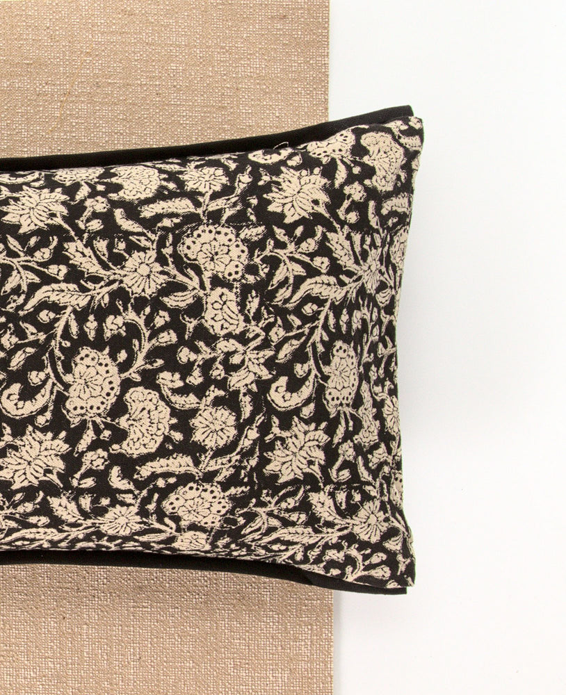 Black Floral Yoga Pillow-Yoga-Block Printed, Yoga Pillows-