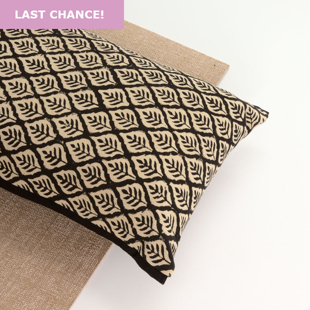 Black Leaf Yoga Pillow-Yoga-Block Printed, Yoga Pillows-