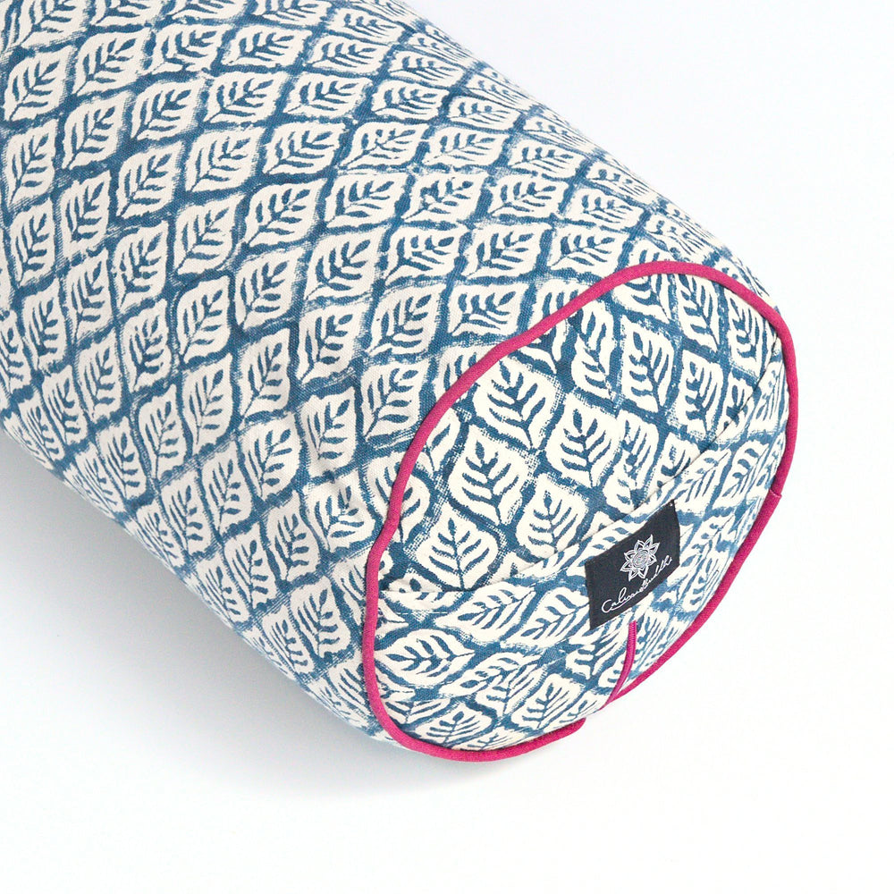 Load image into Gallery viewer, Blue Leaf Round Yoga Bolster-Yoga Bolster-Block Printed, Round Bolsters-