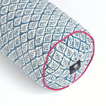 Blue Leaf Round Yoga Bolster-Yoga Bolster-Block Printed, Round Bolsters-