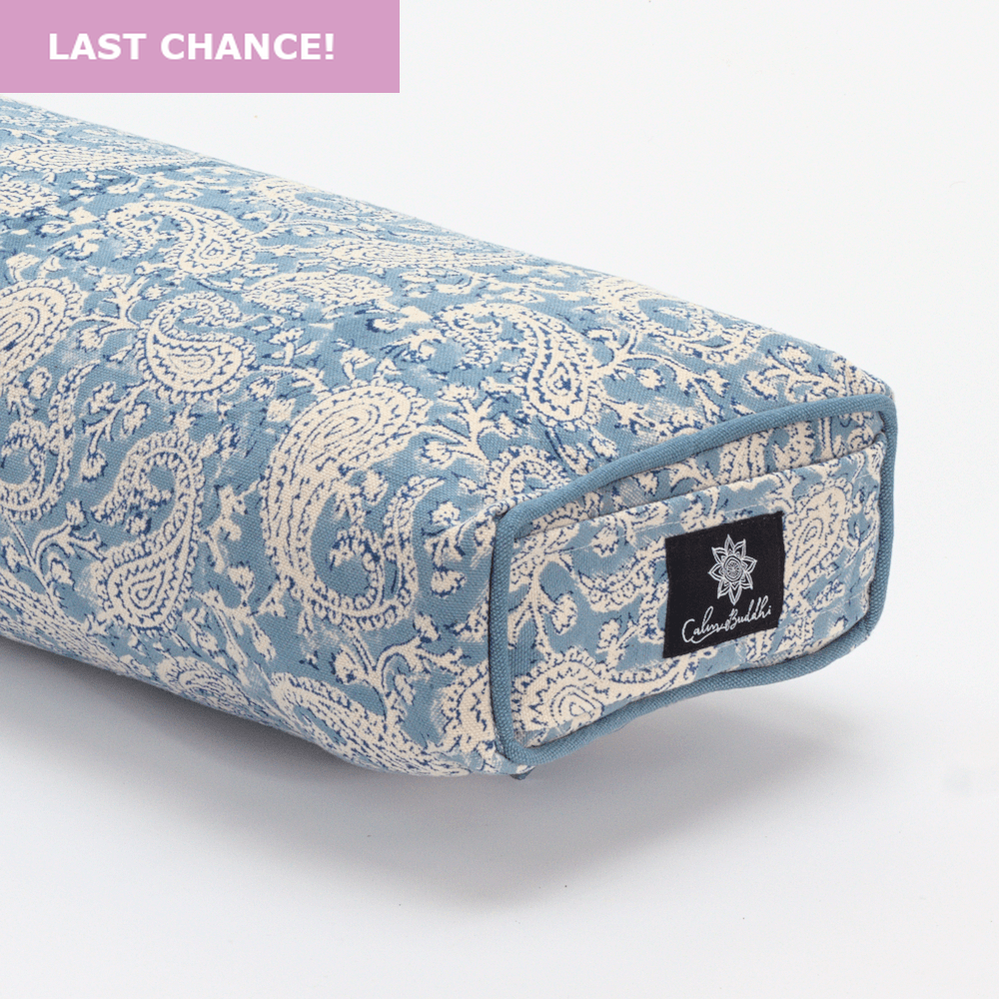 Load image into Gallery viewer, Dreamy Blue Paisley Pranayama Yoga bolster-Yoga Bolster-Block Printed, Prana Bolsters-