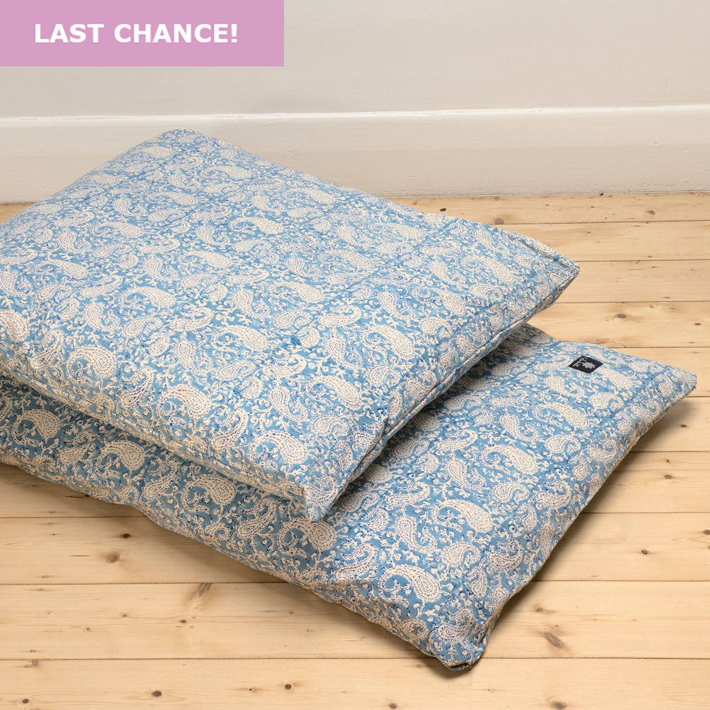 Dreamy Blue Paisley Yoga Nidra and Meditation Futon-Meditation-Block Printed, Futons-