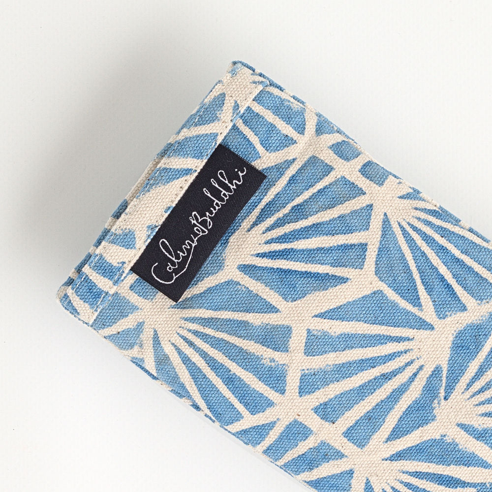 Load image into Gallery viewer, Eye Pillow - Blue Fan-Meditation-Block Printed, Eye Pillows-Scented-