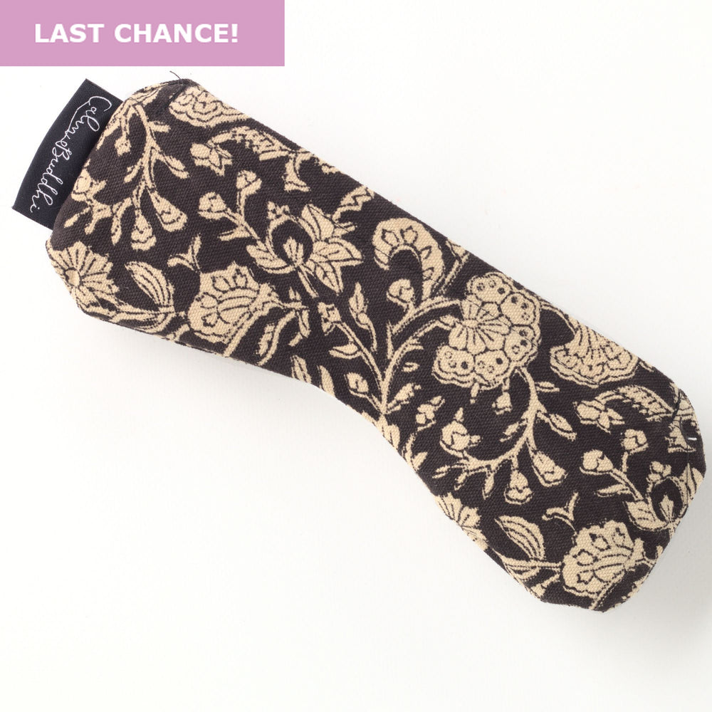 Eye Pillow - Contoured - Black Floral-Meditation-Block Printed, Eye Pillows-Scented-