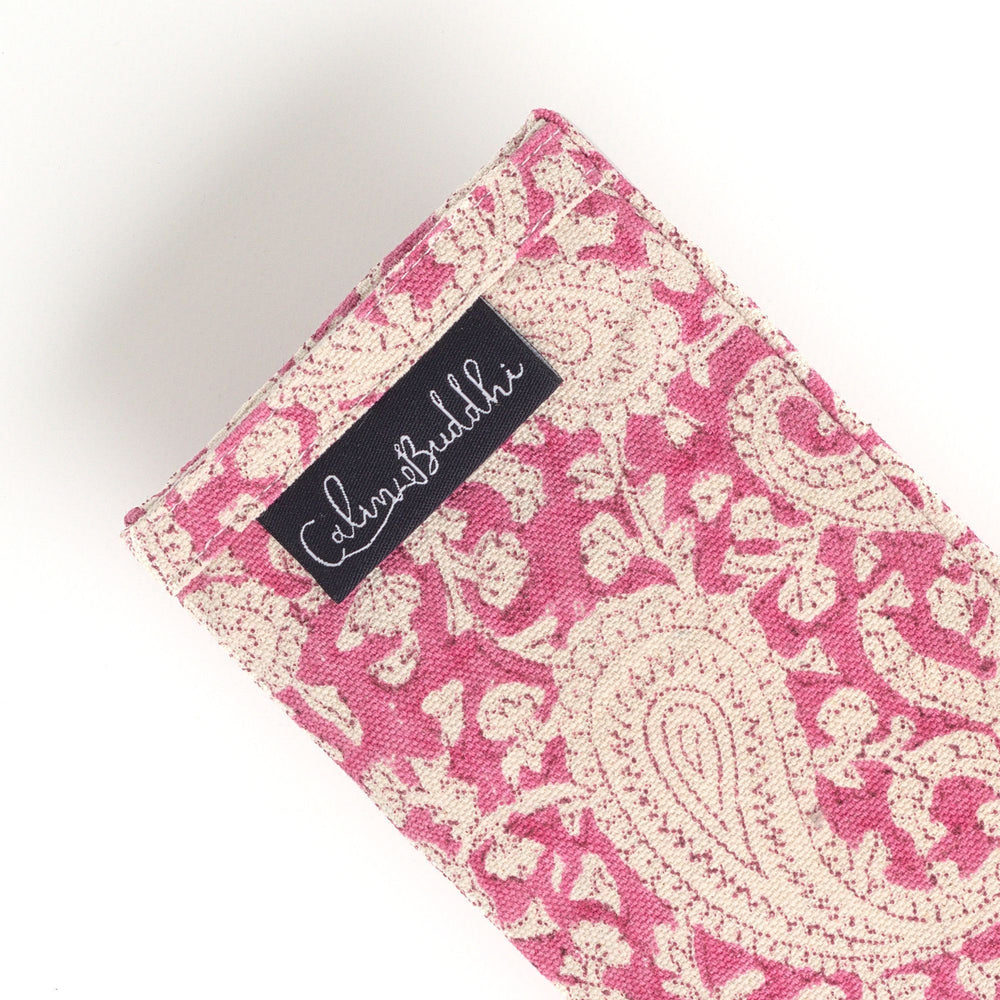 Eye Pillow - Fuchsia Pink Paisley-Meditation-Block Printed, Eye Pillows-Scented-
