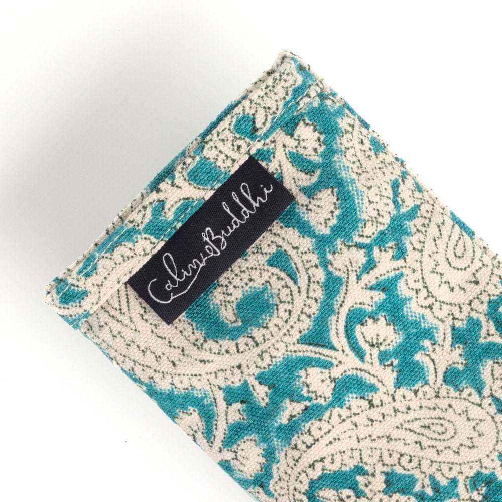 Eye Pillow - Teal Paisley-Meditation-Block Printed, Eye Pillows-Scented-