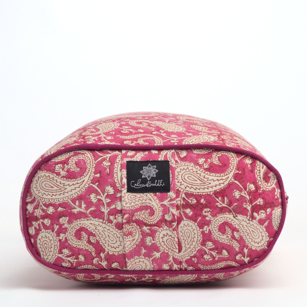 Load image into Gallery viewer, Fuchsia Paisley Pink Oval  Yoga Bolster