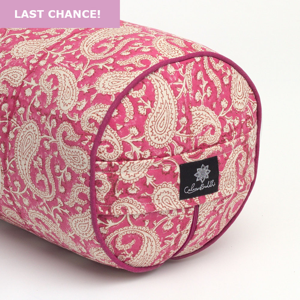 Load image into Gallery viewer, Fuchsia Paisley Pink Round Yoga Bolster