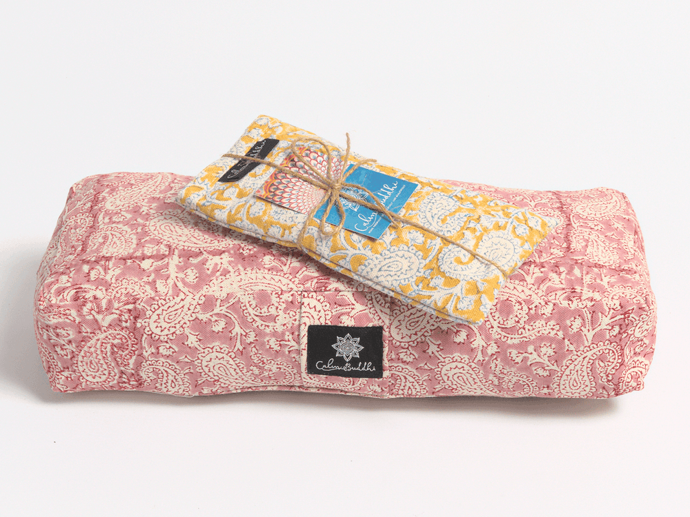 Gift Travel Bundle-Yoga Bolster-Block Printed, Eye Pillows, Gift Packs-