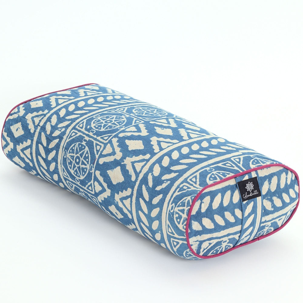 Load image into Gallery viewer, Indigo dreams oval yoga bolster-Yoga Bolster-Block Printed, Oval Bolsters-COTTON DRILL PIPING-
