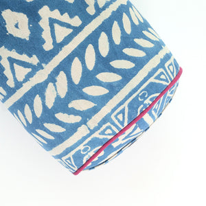 Load image into Gallery viewer, Indigo dreams round yoga bolster-Yoga Bolster-Block Printed, Round Bolsters-