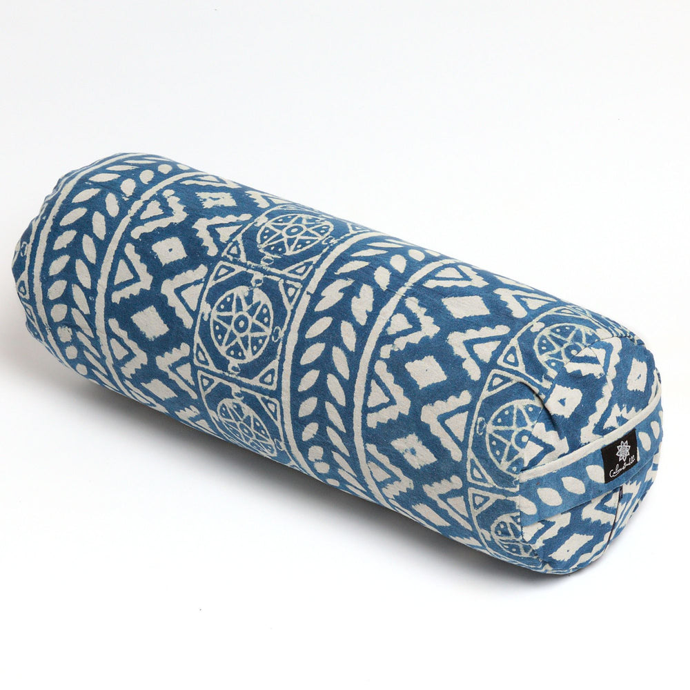 Indigo Dreams Round Yoga Bolster - without piping-Yoga Bolster-Block Printed, Round Bolsters-