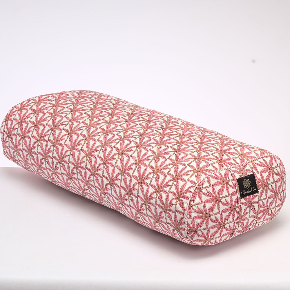 Load image into Gallery viewer, Jaipur Palms Oval Yoga Bolster-Yoga Bolster-Block Printed, Oval Bolsters-