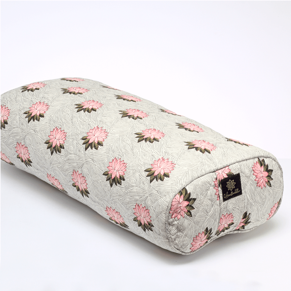 Load image into Gallery viewer, Lotus Rising Oval Yoga Bolster-Yoga Bolster-Block Printed, Oval Bolsters-