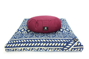 Meditation cushion - indigo dreams zabuton-Meditation Cushion-Block Printed, Zabutons-
