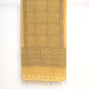 Mustard Flower Ajrakh Natural Dye Scarf-Scarf-Gifts, Scarves-